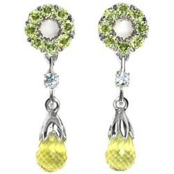 Natural LEMON QUARTZ SKY BLUE TOPAZ PERIDOT Earrings