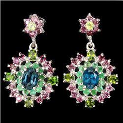 Natural London Blue Topaz Emerald Peridot Earrings