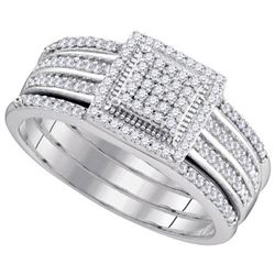 10KT White Gold 0.35CTW DIAMOND MICRO-PAVE BRIDAL RING