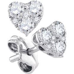 10KT White Gold 0.52CTW-Diamond HEART EARRINGS