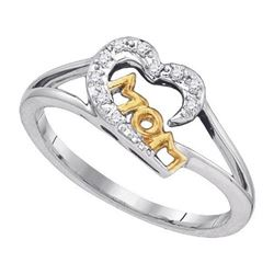 925 Sterling Silver White 0.05CTW DIAMOND MOM RING