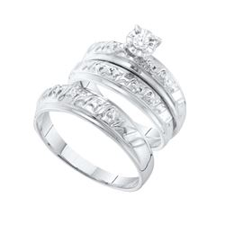 14kt White Gold His & Hers Round Diamond Solitaire Matc