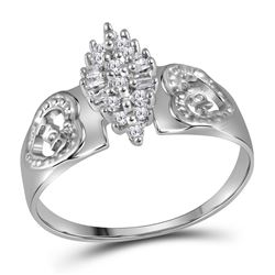 Sterling Silver Womens Round Diamond Heart Mom Cluster