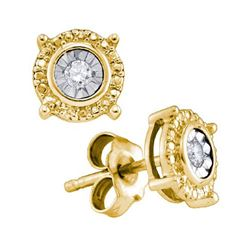 925 Sterling Silver Yellow 0.05CTW DIAMOND FASHION EARR