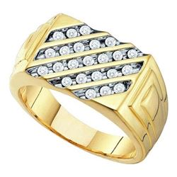 10K Yellow-gold 0.51CT DIAMOND FASHION MENS RING