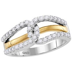 Womens 10K Gold Two Tone Knot Love Unity Real Diamond F