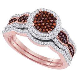 10KT Rose Gold 0.50CTW DIAMOND BROWN BRIDAL SET