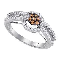10K White-gold 0.50CTW-DIA BROWN DIAMOND RING