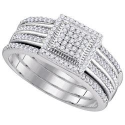 10KT White Gold 0.35CTW DIAMOND MICRO-PAVE BRIDAL RING