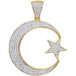 10kt Yellow Gold Mens Round Diamond Star & Crescent Cha