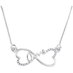 Sterling Silver Womens Round Diamond Heart Infinity Lov