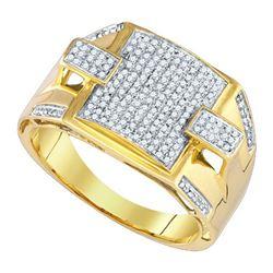 10K Yellow-gold 0.43CTW DIAMOND MICRO PAVE MENS RING