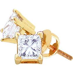 14KT Yellow Gold 0.40CTW-(EXCE) PRINCESS DIAMOND EARING