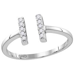 Sterling Silver Womens Round Natural Diamond Open Paral