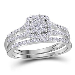 10K White Gold Bridal Cluster Halo Real Diamond Engagem