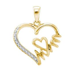 "925 Sterling Silver Yellow 0.06CTW DIAMOND ""MOM"" PENDAN"