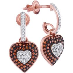 10KT Rose Gold 0.33CTW RED DIAMOND MIRCO-PAVE EARRINGS