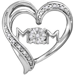 Sterling Silver Womens Round Diamond Mom Mother Heart P