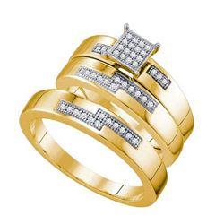 10K Yellow-gold 0.15CT DIAMOND MICRO PAVE TRIO SET