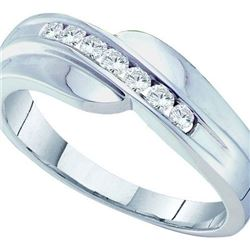 14K White-gold 0.25CTW ROUND DIAMOND MENS FASHION BAND