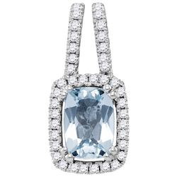 14KT White Gold 0.18CTW-Diamond 0.72(MIN)CT AQUA PENDAN