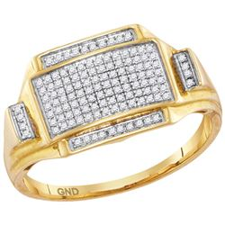 10kt Yellow Gold Mens Round Pave-set Diamond Rectangle