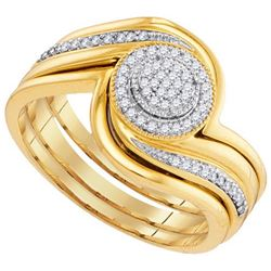 10K Yellow-gold 0.15CTW-Diamond MICRO-PAVE BRIDAL SET
