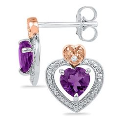 Sterling Silver Womens Round Lab-Created Amethyst Diamo