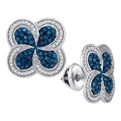 10KT White Gold 0.55CTW BLUE DIAMOND MICRO-PAVE EARRING