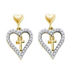 14K Yellow-gold 0.33CTW DIAMOND HEART EARRING