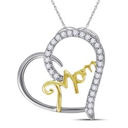 Sterling Silver Two-tone Womens Round Diamond Mom Heart