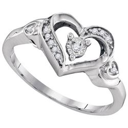 925 Sterling Silver White 0.06CTW DIAMOND FASHION RING