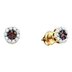 14KT Yellow Gold 0.50CTW COGNAC DIAMOND LADIES FLOWER E