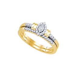 10k Yellow Gold Womens Natural Marquise Diamond Bridal