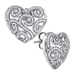 10KT White Gold 0.54CTW DIAMOND HEART EARRINGS