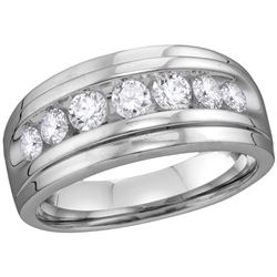 10kt White Gold Mens Round Natural Diamond Band Wedding