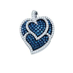 10K White-gold 1.05CTW BLUE DIAMOND LADIES FASHION PEND