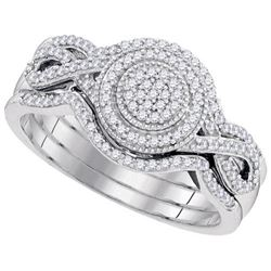 10KT White Gold 0.33CTW-Diamond MICRO-PAVE BRIDAL SET