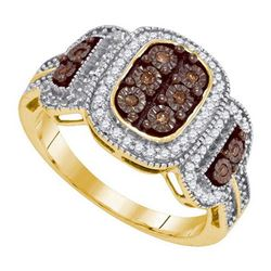 10KT Yellow Gold 0.33CTW COGNAC DIAMOND MICRO-PAVE RING