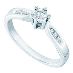 925 Sterling Silver White 0.06CT DIAMOND RING