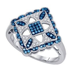 10KT White Gold 0.25CT BLUE DIAMOND MICRO PAVE RING