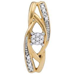 10kt Yellow Gold Womens Round Diamond Vertical Suspende
