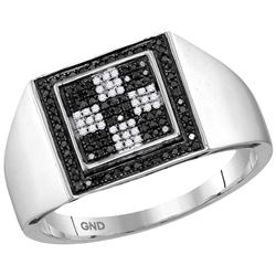 10kt White Gold Mens Round Black Colored Diamond Checke