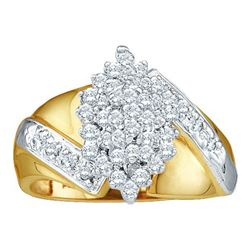 10KT Yellow Gold 0.50CTW DIAMOND CLUSTER RING