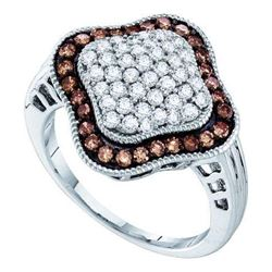 10KT White Gold 1.00CTW COGNAC DIAMOND LADIES FASHION R