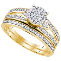 10K Yellow-gold 0.33CT DIAMOND MICRO-PAVE BRIDAL SET