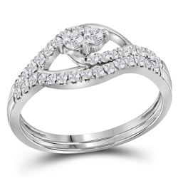 10kt White Gold Womens Round Diamond 2-Stone Bridal Wed