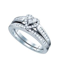 10KT White Gold 0.50CT DIAMOND HEART BRIDAL SET SIZE 6