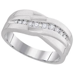 10KT White Gold 0.25CTW DIAMOND MENS FASHION BAND