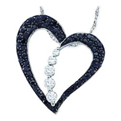 10KT White Gold 0.50CTW DIAMOND LADIES HEART PENDANT